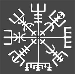 1- 5.5x5.5 inch Custom Cut Stencil,  Viking Ice Compass, Fre