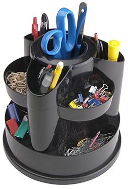 Staples 10 Compartment Rotating Desk Organizer, Black