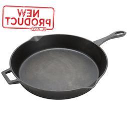 "14"" Cast Iron Fry Pan Skillet Pre-Seasoned W/ Handle Camping"