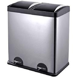 16-Gallon 2-Compartment Trash and Recycling Bin, Heavy-duty