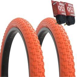 """1PAIR! Bicycle Bike Tires & Tubes 20"""" x 2.125"""" Orange/Orange"""
