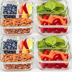 2 & 3 Compartment Glass Meal Prep Containers  - Food Storage