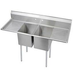 "Elkay Foodservice 2 Comp Sink 16""x20""x12"" Bowls Two 18"" Drai"