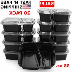 20 Meal Prep Containers 2 Compartment Food Storage Plastic R