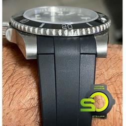20mm BLACK Vulcanized Rubber Strap Band Fits Rolex Watches N