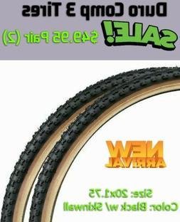 20x1.75 Bicycle Tires PAIR  Comp III Black w/Skinwall Gumwal