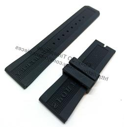 24mm black rubber watch band strap comp