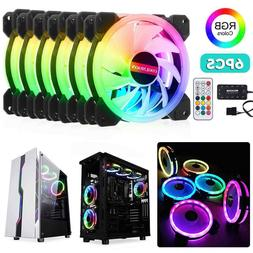 3/6 PACK RGB LED Quiet Computer Case PC Cooling Fan 120mm wi