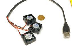 3 fans on 1 usb fan 5v computer mini small  2510 GDStime 25m