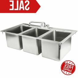 """37"""" Three Compartment 10"""" x 14"""" x 10"""" Bowl Faucet Stainless"""