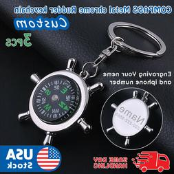 3PCS COMPASS Metal chrome Rudder keychain camping hiking out