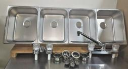 4 Large Compartment Concession Sinks, 3 Dish & 1 Hand Washin