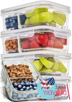 Glass Meal Prep Containers 2 Compartment Lids Divided Lunch