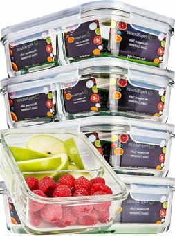 Glass Meal Prep Food Storage Containers – 2 Compartment C