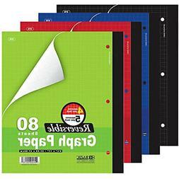 "6 Reversible 4""/5"" Mathematics Graph Paper Quad Ruled Compos"