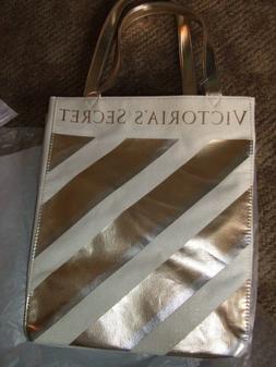 """$80 VICTORIA SECRET GOLD METALLIC STRIPE 10X13X8"""" bag POLY L"""
