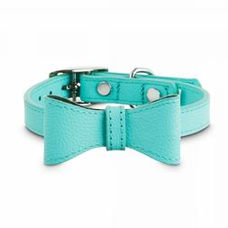 Bond & Co. Teal Leather Bow Tie Dog Collar, XX-Small By: Bon