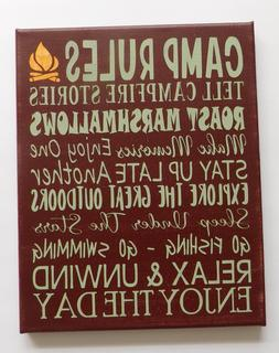 Camp Rules Family Sign Decor Camper RV Handmade Painted Canv