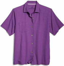 Tommy Bahama Catalina Stretch Twill Camp Shirt - Hot Viola S