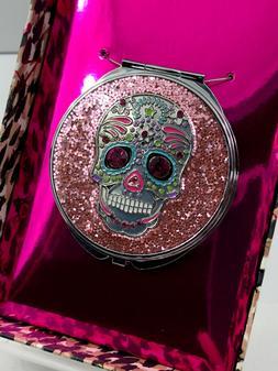 Betsey Johnson Compact Double Mirror Sugar Skull Pink Glitte