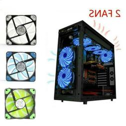 Computer 11-Blade CPU Fan 2X Light Cooling LED Quad PC Clear
