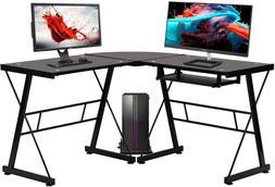 Computer Desk Gaming Desk Home Office Toughened Glass L Shap