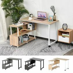 HOMCOM Corner Rotating Combo L-Shaped I-Shape Computer Desk