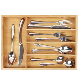 Silverware Utensil Cutlery Tray Bamboo wooden Drawer Divider