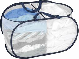 Deluxe Mesh Pop Up 2 Compartment Laundry Sorter Hamper w/ Ha