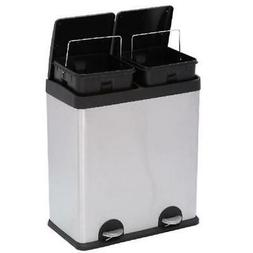 Dual Compartment Trash Can Big Kitchen Tall with Lid Garage