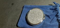 DUAL SIDED SILVER GLITTER COMPACT MIRROR-NEW WITH VELVET CAS