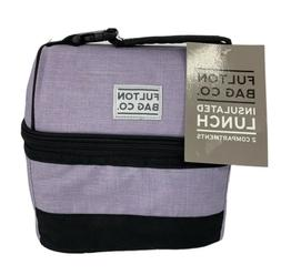 FULTON BAG CO. NEW Lunch Bag Insulated 2 Compartments Lilac