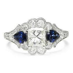 Gabriel&Co Princess Diamond 3 Stone Engagement Ring with Sap