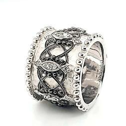 Gabriel & Co Designer Signed Black Diamond Sterling Silver W