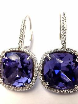 Gabriel & Co.  Synthetic Cushion Tanzanite Halo Sterling Sil