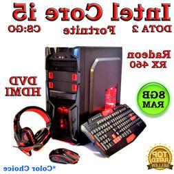 GAMING PC DESKTOP COMPUTER INTEL QUAD CORE i5 RX 460 GPU 8GB