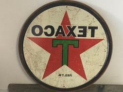 "TEXACO GASOLINE GAS AND OIL TEXAS COMPANY 12"" ROUND METAL WA"
