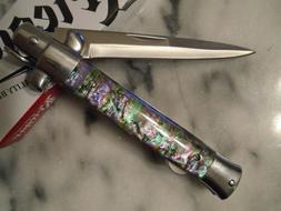 Kriegar German Style Abalone Comp Stiletto Dagger Pocket Kni