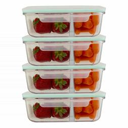 Glass 35 Oz Food Containers 2 Compartment Meal Prep Storage