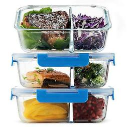 Glass Meal Prep Containers 2-Compartment - 3-Pack 32oz Prep,