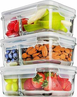 Prep Naturals Glass Meal Prep Containers Glass 2 Compartment