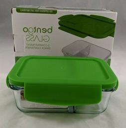 Bentgo Glass Snack 2 Compartment Food Storage Container Gree