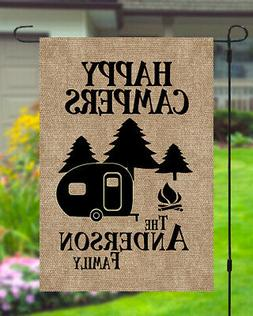 Happy Campers Personalized Custom Family Name Garden Banner