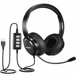 Mpow HC2 USB Headset 3.5mm Stereo Wired Headphone Computer N