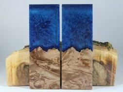 HYBRID MAPLE BLUE GLITTER COMP KNIFE HANDLE MATERIAL BLANK S