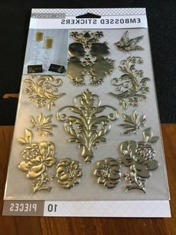 K&Company Embossed Stickers Silver Foil Wedding Stickers