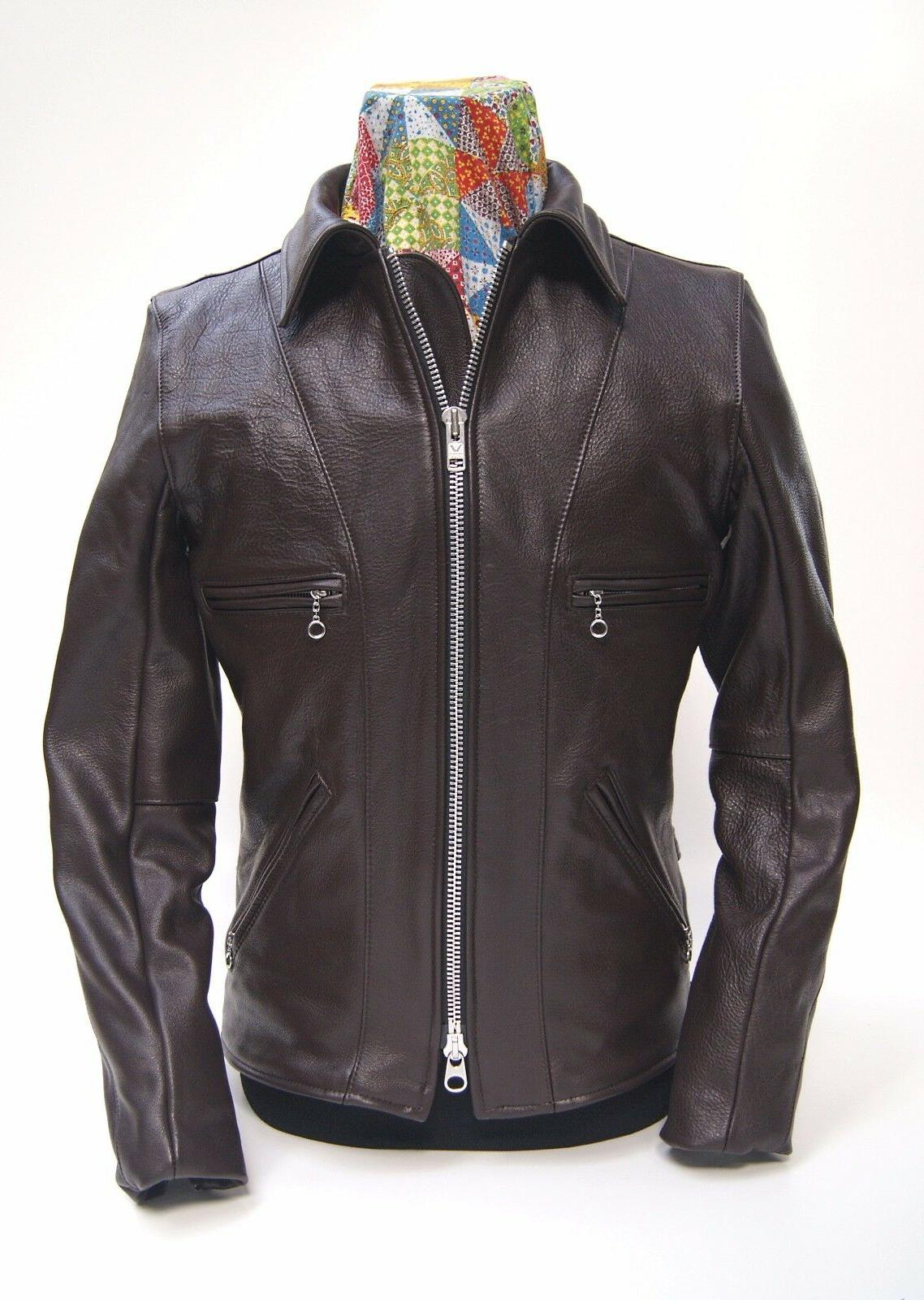 model f brown comp weight leather jacket