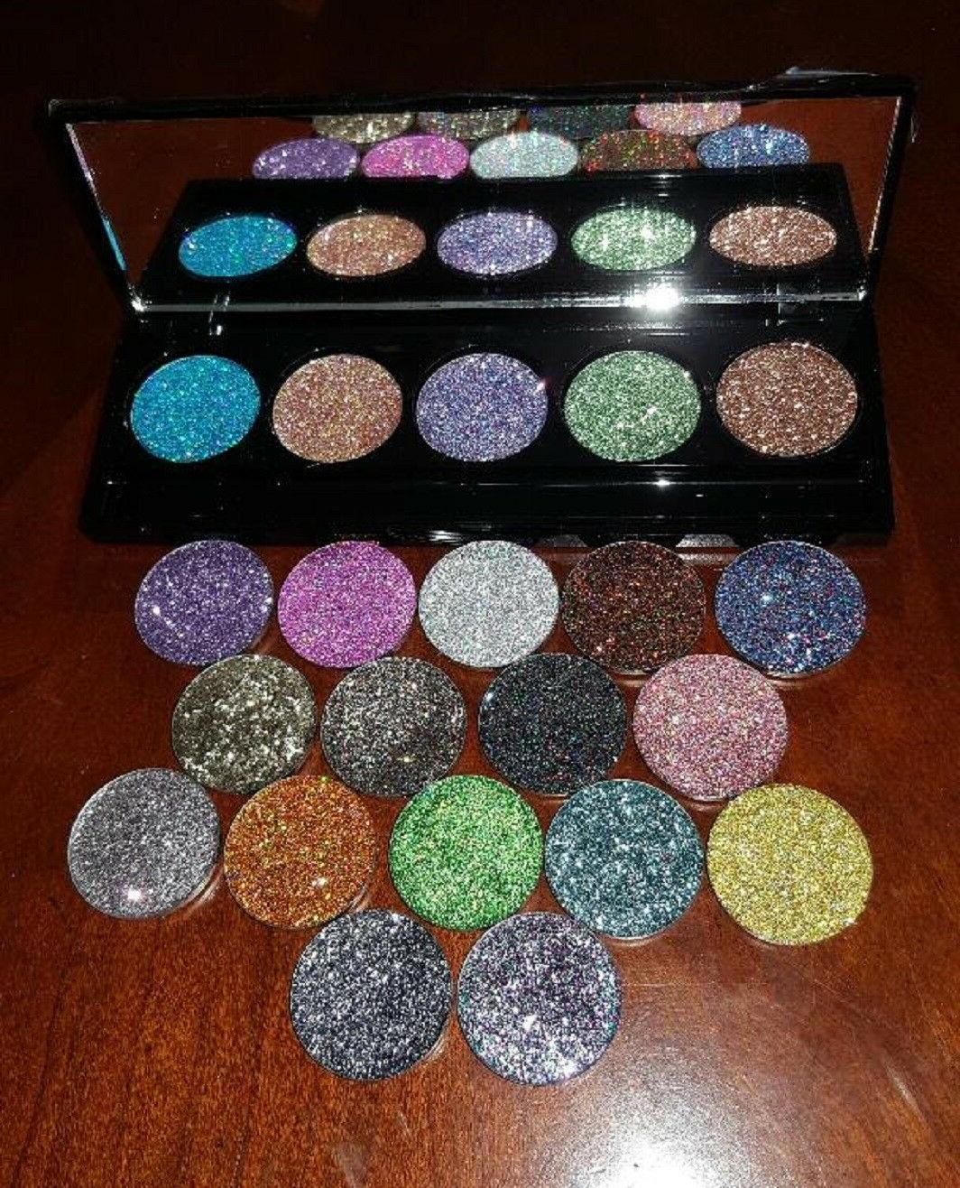pressed glitter eye shadow palette with mirror