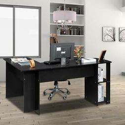 L-Shaped Corner Computer Desk Sturdy Writing Furniture 2-lay