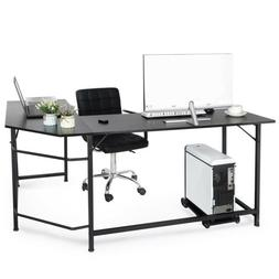 Black L-Shaped Desk Corner Computer Gaming Laptop Table Work